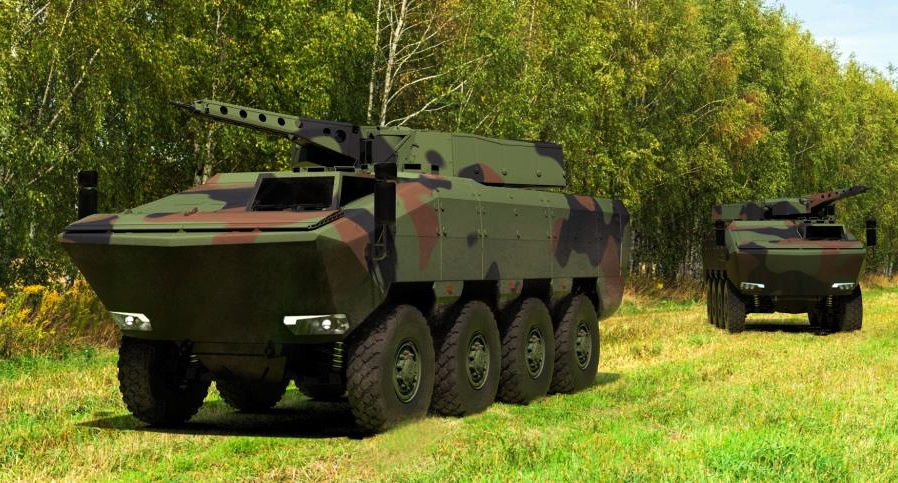 Rendering of two AGILIS 8x8 armored personnel carriers