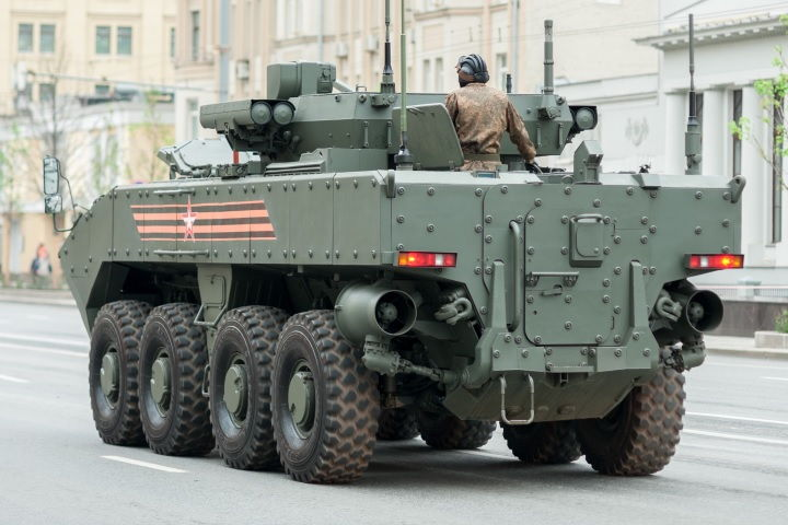 rear view of bumerang 8x8 armored personnel carrier moving on road